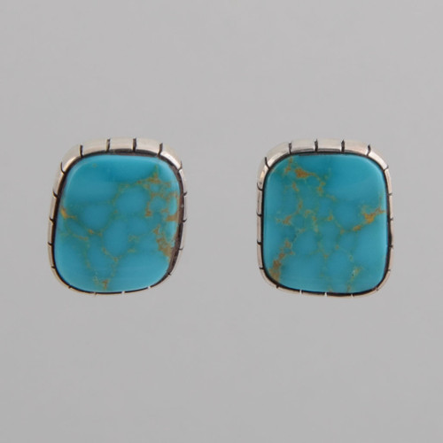 Sterling Silver Earrings with Turquoise, Navajo Made - No Hallmark, w/ Clip