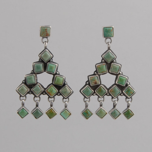 Sterling Silver Earrings /w Nevada Green Turquoise, Navajo Made-no hallmark, /w Post.