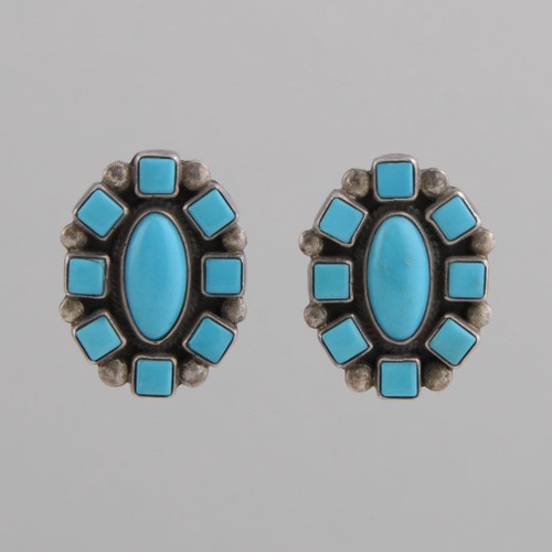 Sterling Sliver Earrings with Turquoise, Navajo Made - No Hallmark.  w/ Clip.