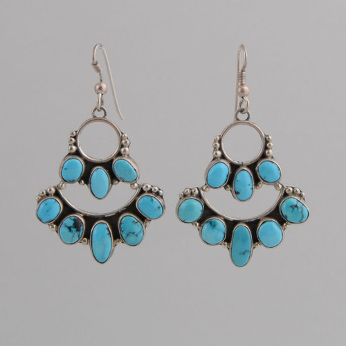 Sterling Silver /w Wire and Kingman Turquoise, Chandelier Style