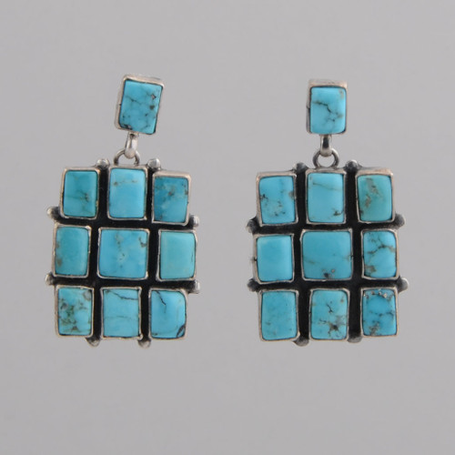 Sterling Silver Kingman Turquoise Post Earrings.
