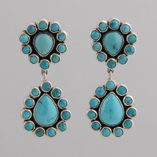 Sterling Silver Post Earrings /w Nevada Blue Turquoise.