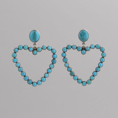 Sterling Silver Post Earrings /w Nevada Blue Turquoise, Heart Shaped
