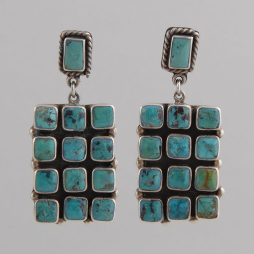 Sterling Silver Post Earrings, Turquoise Tile Design.