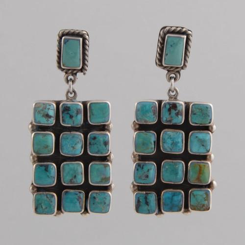 Sterling Silver Post Earrings, Turquoise Tile Design.