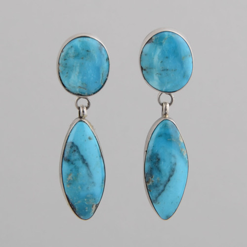 Sterling Silver Earrings with Round and Oval Shaped Turquoise Stones.  Navajo Made - No Hallmark.  w/post.