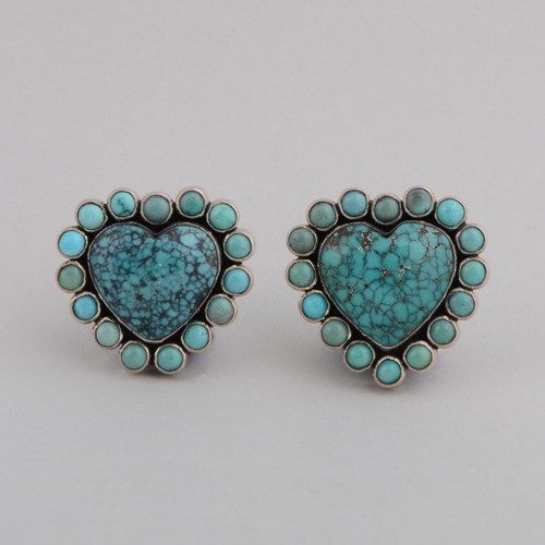 Sterling Silver Post Earrings, w/ Heart Shape Turquoise.
