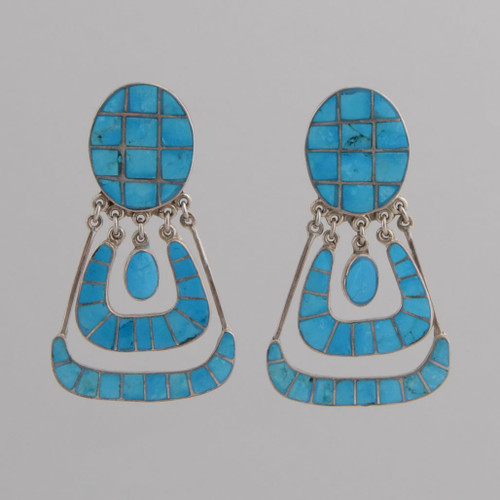 Sterling Silver Post Earrings /w Inlaid Sleeping Beauty Turquoise.