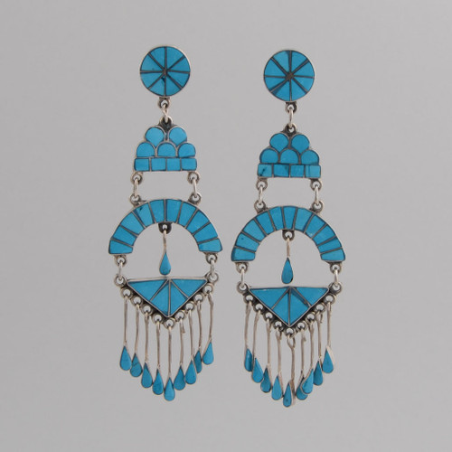 Sterling Silver Post Earrings /w Sleeping Beauty Inlaid  Turquoise, Round Shapes and Dangles