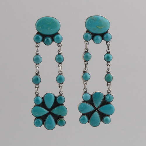 Sterling Silver Post Earrings w/ Turquoise Sixteen Stone Dangles.