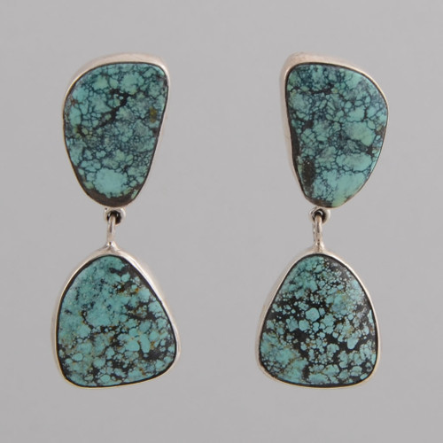 Sterling Silver Post Earrings w/ Two Stone Turquoise Drop.