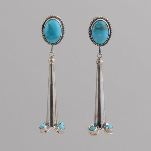 Sterling Silver Post Earrings /w Kingman Turquoise, Squash Blossom Style
