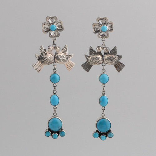 Sterling Silver Dangle Earrings with Silver Doves and Turquoise.  In the Frida Kahlo Style.  w/ Post.