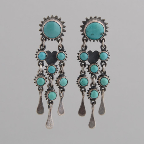 Sterling Silver Post Earrings w/ Turquoise Seven Stone Dangles.
