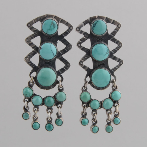 Sterling Silver Post Earrings w/ Turquoise, Eleven Stones w/ Dangles.