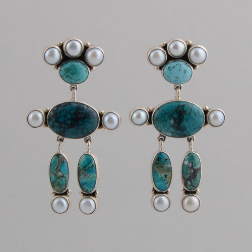 Sterling Silver Post Earrings w/ Turquoise, Pearls, People Design, Dangle.