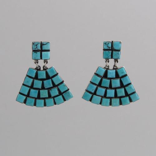 Sterling Silver Post Earrings w/ Turquoise, Tile Fan Design.