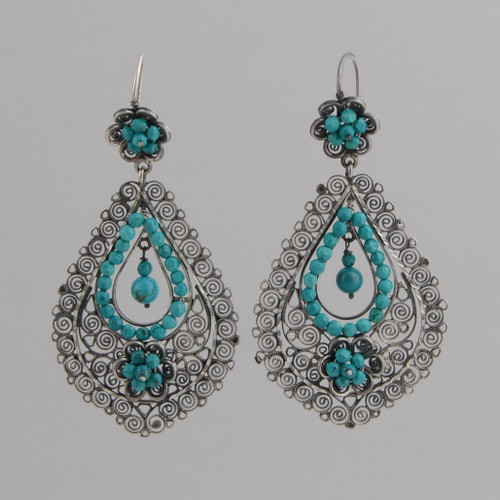 Sterling Silver Filigree Earrings with Faceted Turquoise Beadwork.  w/ Wire.