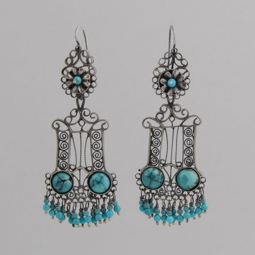 Sterling Silver Filigree Earrings with Turquoise Detail, Including Top Flower, Round Stones and Dangles.  w/ Wire.