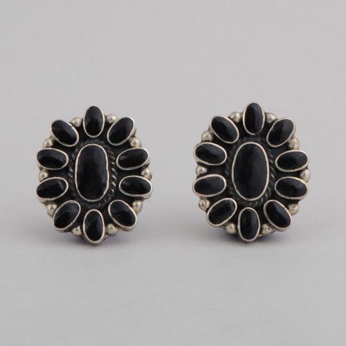 Sterling Silver Black Onyx Post Earrings