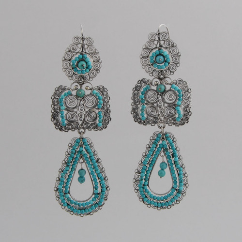 Sterling Silver Filigree Dangle Earrings with Turquoise. w/ Wire.