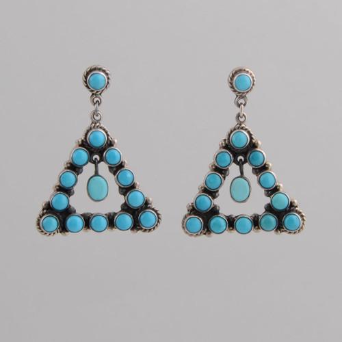 Sterling Silver Post Earrings w/ Triangle Design Dangles.