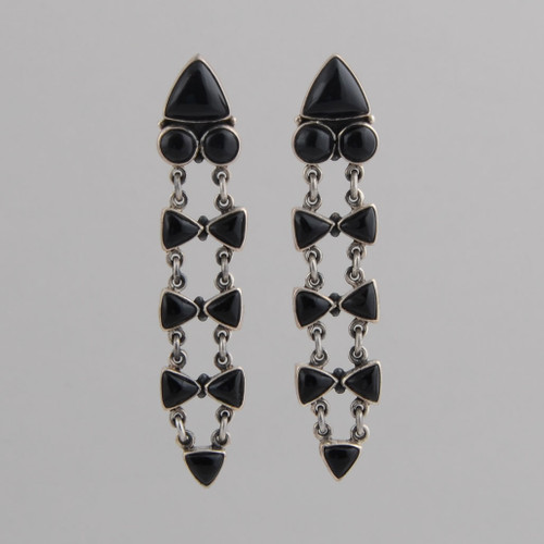 Sterling Silver Black Onyx Post Earrings.