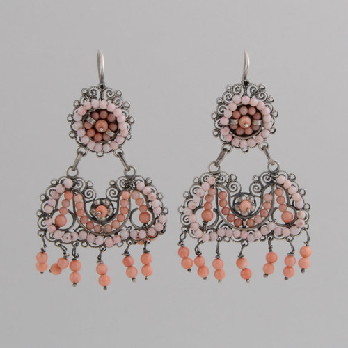 Sterling Silver Filigree Earrings with Two Shades of Angel Skin Coral.  w/ Wire.