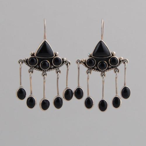 Sterling Silver Black Onyx Dangle /w Wire Earrings