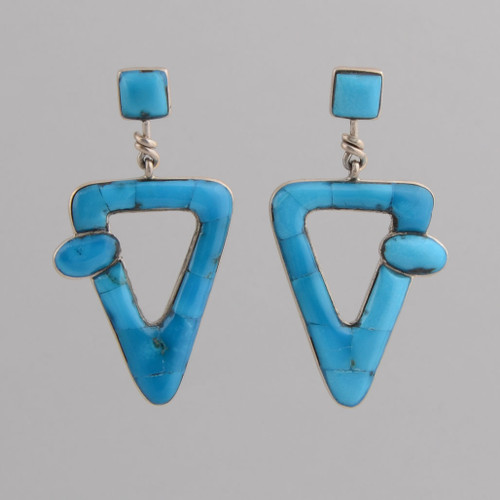 Sterling Silver Post Earrings w/ Turquoise Triangle Design.