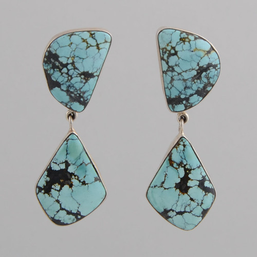 Sterling Silver Earrings with Two Turquoise Stones.  w/ Post