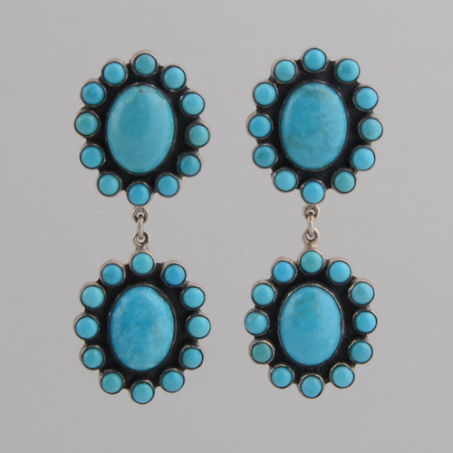 Sterling Silver Post Earrings w/ Turquoise Double Blossom Design.