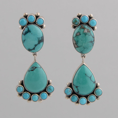 Sterling Silver Dangle Earrings with Round, Oval, Teardrop Shaped Multi-Shades Turquoise Stones.  w/Post.
