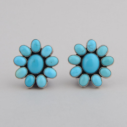 Sterling Silver Post Earrings w/ Turquoise Blossom Design.