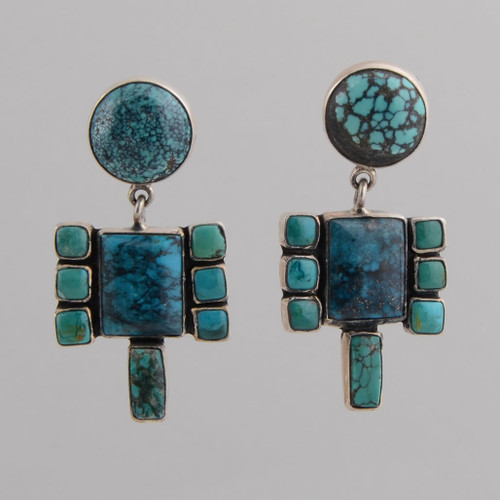 Sterling Silver Post Earrings w/ Turquoise Contemporary Design.