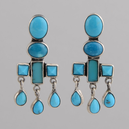 Sterling Silver Post Earrings w/ Three Color Turquoise, Faceted Stones w/ Dangles.
