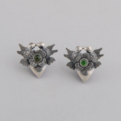 Sterling Silver Earrings with Doves Kissing Over a Flower, with a Green Crystal. In the Frida Kahlo Style.  w/ Post.