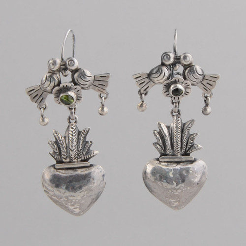 Sterling Silver Earrings with Doves and Flower Over Plant. In the Frida Kahlo Style.  w/ Wire.