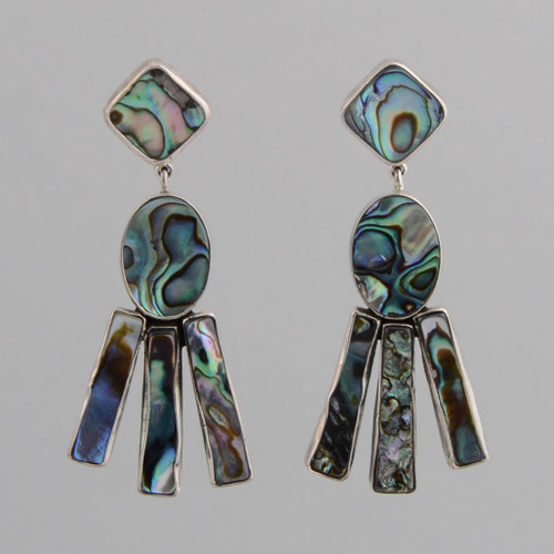 Sterling Silver Abalone Post Earrings.