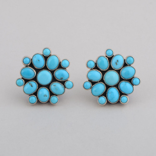 Sterling Silver Clip Earrings w/ Turquoise, Fifteen Stone Blossom Design.