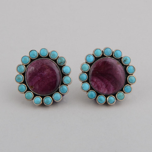 Sterling Silver Clip Earrings w/ Purple Spiny Oyster Shell, Turquoise.