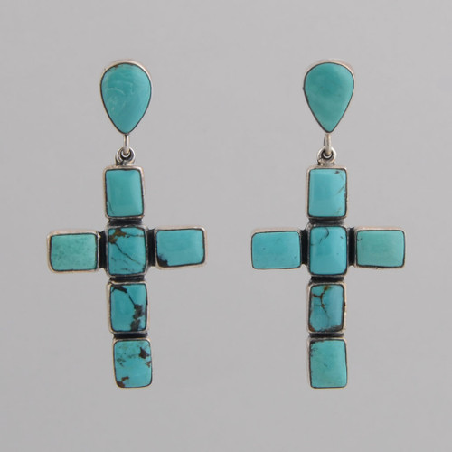 Sterling Silver Post Earrings w/ Turquoise Tear Drop Cross Design.