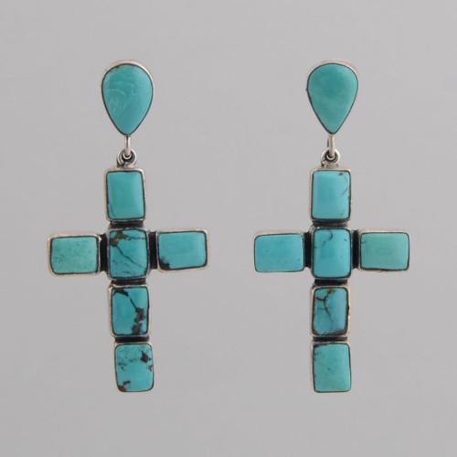 Sterling Silver Post Earrings w/ Turquoise Tear Drop Cross Design.