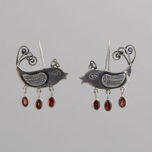 Sterling Silver Whimsical Bird Earrings with Red Crystals. w/ Wire.