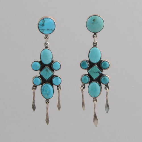 Sterling Silver Post Earrings w/ Turquoise, Eight Stone Dangle Design.