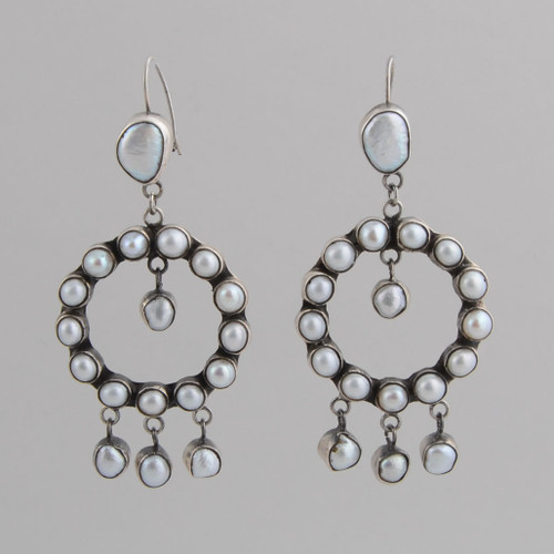 Sterling Silver Earrings with White Fresh Water Pearls.  w/ Wire.