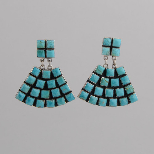 Sterling Silver Clip Earrings w/ Turquoise Tile, Fan Design.