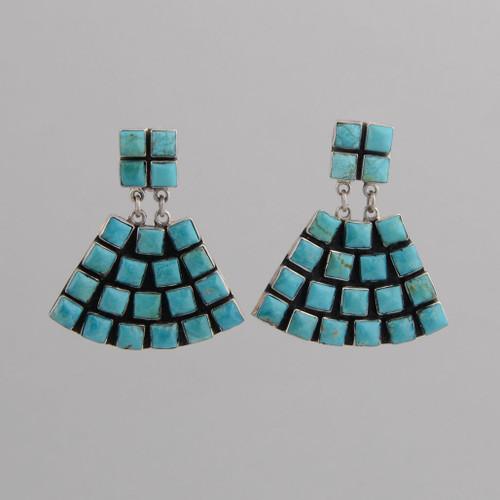Sterling Silver Clip Earrings w/ Turquoise Tile, Fan Design.