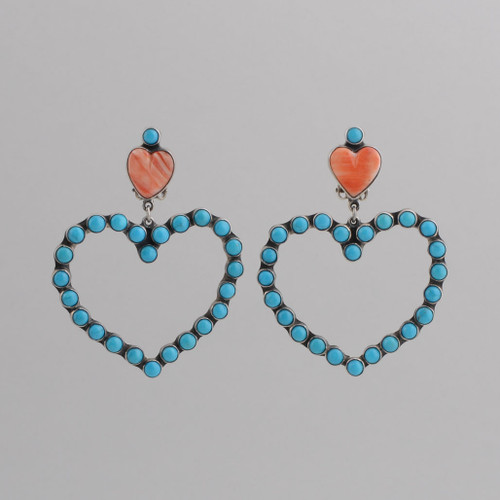 Sterling Silver Clip Earrings w/ Orange Spiny Oyster Shell Heart, Turquoise Heart.