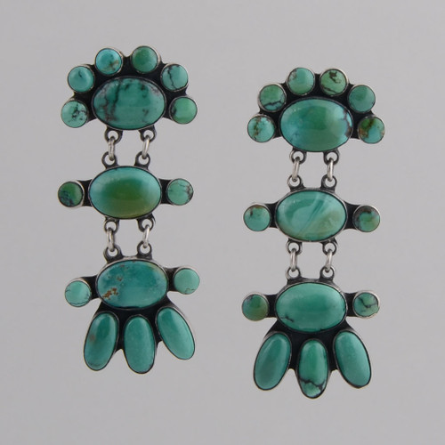 Sterling Silver Clip Earrings w/ Turquoise Sixteen Stone Dangle.